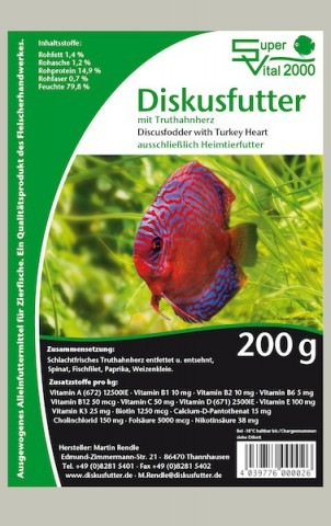 Rendles SV 2000 Discusfodder Turkey 200g